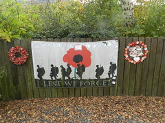 """Lest we Forget"" Banner, Strachan Aberdeenshire, Oct 2019 (allanmaciver) Tags: children youth village creation wreaths cards autumn leaves poppy soldiers action allanmaciver lestweforget"