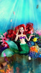 Under the sea (custombase) Tags: disney store classics doll madetomovebody littlemermaid ariel flounder sebastian fish crab seahorses coral ocean diorama toyphotography