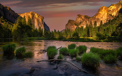 The Valley (PrevailingConditions) Tags: yosemite yosemitenationalpark mercedriver elcapitan bridalveilfalls sunset color landscape waterfall water nature serene calm