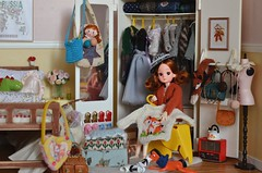 Isabella pulled all her sweaters out and reorganized the wardrobe to well prepare for the winter. (Moonrabbit_ly) Tags: licca rement rements dollhouse diorama miniature winter