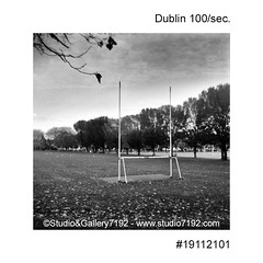 Irish gaelic football field in Dublin - This black and white camera obscura photo is NOT sharp due to camera characteristic. Taken on film with a pinhole camera (jbeugephoto) Tags: dublin football ireland sport empty free place park support gaelic grass pitch field town english publicpark game goal irish city gaelicfootball tree photography pinhole photo black vintage retro photographic analog image nobody obscura white oldfashioned pinholecamera