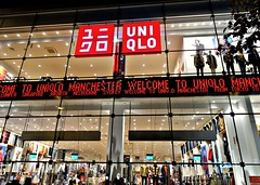 Manchester store  at night (Tony Worrall) Tags: manchester shop night glow buy sell sale bought item stock ilobsterit instagram account store clothes asian foriegn bright lit lights windows great greatermanchester dailyphoto photohour visit place retail location venue north northwest good arndale color colourful goods lines shapes nice uniqlo