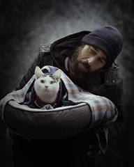 Daniel & Casper (mckenziemedia) Tags: man cat portrait portraiture catbed human love stockingcap bed feline people humanity street streetphotography chicago city urban homeless homelessness littledoglaughedstories