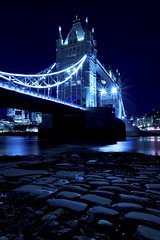 Old Horselydown Stairs (Douguerreotype) Tags: blue london bridge dark cobblestones uk river water british buildings architecture city britain tower gb night urban england