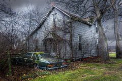 Grey House Blue Car (markburkhardt) Tags: 1977 buick lesabre