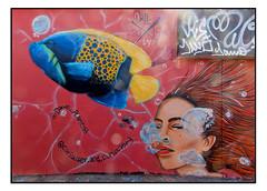 STREET ART by DAVE PLANT & CURIOUSER and CURIOUSER (StockCarPete) Tags: streetart londonstreetart urbanart graffiti londongraffiti underwater underwaterart sea fish bubbles airbubbles shoreditch shoreditchart london uk