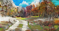 Winter is coming (V_Dagaev) Tags: winter forest trees trail road sky snow art digital painterly painting painter paintingsfromphotos paint visualdelights landscape nature autumn