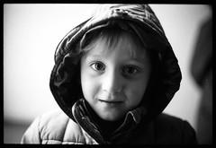 Boy with a hood (Nikon F3) (mmartinsson) Tags: tx nikkor50mmf14 analoguephotography blackandwhite portrait 400tx trix nikonf3 scannegative 400 epsonperfectionv700 bw 35mm film kodak