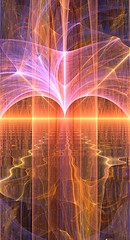 Fireworks on the horizon (chaostheoryenterprizes) Tags: cgi fractal chaos flame colourful ripples fireworks