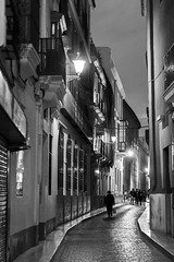 Night in B&W (Daniel Nebreda Lucea) Tags: street calle city ciudad night noche light luz lights luces travel viajar urban urbano urbana dark darkness oscuro oscuridad life vida architecture arquitectura streets calles exposure exposicion shadows sombras people gente sevilla andalucia black white blanco negro monochrome monocromatico bw grey canon 60d 50mm noir elitegalleryaoi bestcapturesaoi aoi