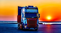 "Nj Bremners R730 out in Patras-Greece. (Rab,) Tags: international trucking mdf aberdeen ""generalhaulage"" ""scottishhaulage"" scottish sunset continental haulage 6x2 ""grampiancontinental"" njbremner grampian greece patras truck scania r730"