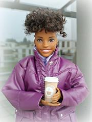 It's cold outside (Deejay Bafaroy) Tags: barbie fashionistas doll puppe 128 goodvibes mattel portrait porträt outdoors draussen purple lilac violett lila coat mantel coffeetogo kaffeezummitnehmen black beige madetomove mtm