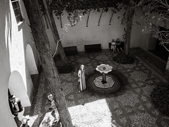 Posing in the Yard (Poul-Werner) Tags: alhambra andalusia andalusien blackwhitephotos gislevrejser granada spain bw documentary geometry pattern reportage street travel travelbycoachorbus granadaprovince