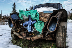old car (rachael242) Tags: abandoned nature car landscape parts engine vehicle bluecar urbex abandonedcar old winter sky snow tree lights rust wheels rusty forgotten