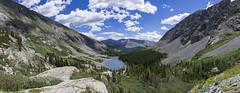 Above Blue Lakes (Ron Scubadiver's Wild Life) Tags: landscape mountain sky colorado rock apline cloud water nikon 28mm pano tree flower lake rockslide