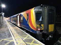 450058, Havant, November 18th 2019 (Southsea_Matt) Tags: 450058 450558 class450 siemens desiro first mtr swr southwesternrailway havant hampshire england unitedkingdom iphone7 november 2019 autumn emu electricmultipleunit passengertravel publictransport vehicle train railway railroad night