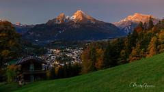 Autumn sunrise over Berchtesgaden (moritzgyssler) Tags: sunrise watzmann bavaria nofeenocontent landscape bayern berchtesgaden mountain
