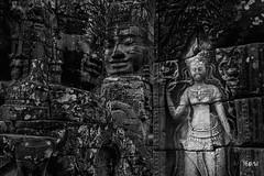 Eterne presenze di sguardi possenti. (iw2ijz) Tags: 2019 1755 reflex nikon d500 khmer trip viaggio tempio temple travel cambodia cambogia angkor ritratto portrait bw biancoenero bianco nero monocomo monocrom sguardi look