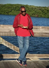Mr G. (LarryJay99 ) Tags: red people man male guy water guys dudes studly virile men florida manly handsome dude m palmbeachgardens blue jeans blackpeople denim blackman boradwalk face sunglasses