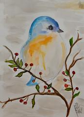 Kim's Little Bird (BKHagar *Kim*) Tags: bkhagar art artwork artday painting paint watercolor watercolour bird littlebird branch berries kims