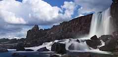 Öxarárfoss in Thingvellir (joiseyshowaa) Tags: iceland water rocks rapids whitewater river waterfall falls geolgocial europe tectonics summer plate golden circle tour travel cliff fissure geologic geology historic history rift valley tectonic plates athing holiday reykjavik