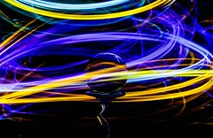 Swirling 'Round (Karen_Chappell) Tags: led glow light lights ball glass orb sphere circle curves lines round blue yellow green purple lightpainting black colour color colours colors multicoloured colourful longexposure stilllife refraction