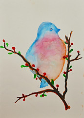 Mom's Little Bird (BKHagar *Kim*) Tags: bkhagar art artwork artday painting paint watercolor watercolour bird littlebird branch berries moms bettyhardage