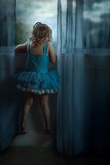 Tippy Toes ({jessica drossin}) Tags: jessicadrossin faceless blue rainy rain raindrops indoors curtains dark sky tippy toes tutu dress child kid girl childhood wwwjessicadrossincom