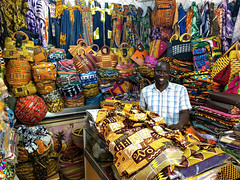 Côte d'Ivoire, Abidjan - Textile variety at local craft market - March 2019 (Cyprien Hauser) Tags: artisanal ville abidjan cava textile wax clothes bag colour vendor handicraft market craft shop pattern batik centre africa treichville souvenir loincloth stand product