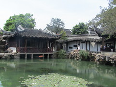 in one Chinese garden (VERUSHKA4) Tags: vue view ville town asia canon china suzhou tree garden people verdure architecture decor decoration blossom day may spring water pond park green waterlily flower fleur flora leaf roof arbour summerhouse eau plant
