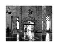 Valencia 53 (BLANCA GOMEZ) Tags: spain valencia bw blackwhite light shadows textures shapes silhouettes reflections vaults vault bóveda saladecontratación salóncolumnario silkexchange lalonjadelaseda lonjadelasedayconsuladodemardevalencia lonjadelasedadevalencia unesco unescoworldheritagesite patrimoniodelahumanidad spanishpropertyofculturalinterest goticovalenciano valenciangothic windows glass columns arches lamps