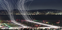 SFO Light Trails (AJ Brustein) Tags: green sfo san francisco international aiport airplane jet bay area multiple exposures longexposure bayarea sf night light trails air traffic control runway active millbrae aj brustein canon 5dm3