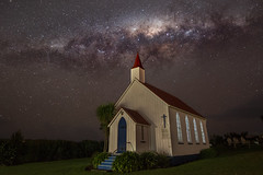 Leave a Light On for Me (Antony Eley) Tags: astrophotography milkyway stars long exposure night landscape nikon church bulding historic