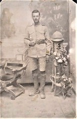 Can anyone read reverse side of this? (Aussie~mobs) Tags: ww1 soldier puttees uniform helmet arabic help language writing wolseleypith egypt india british portrait khakiuniform shorts leatherbelt snakebuckle