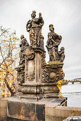 Saints Barbara, Margaret and Elizabeth (davidseibold) Tags: markétyaalžběty bridge charlesbridge cloud czechrepublic europe freshwater jfflickr karluvmost photosbydavid plant postedonflickr prague praha river sculpterferdinandbrokoff sculpture sky sousošísvbarbory statue tree vltavariver water českárepublika
