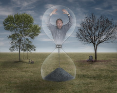 Running out of time (Repp1) Tags: man homme age aging vieillir trees abres swing headstone pierretombale hourglass sablier