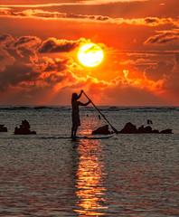 Paddleboarding at Sunset (Trey Ratcliff) Tags: stuckincustoms stuckincustomscom treyratcliff paddleboard paddle board sun sunset glow ocean sea water