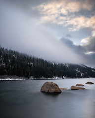 Winter Begins (jbrad1134) Tags: winter snow lake water longexposure portrait rocks fog clouds blanket trees still season nature laketahoe echo landscape quiet fuji fujifilm fujifilmxf1614