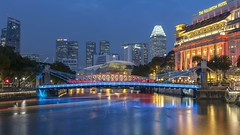 Singapore River & Fullerton Hotel Night [Explored 22 Nov 2019] (yoosangchoo) Tags: singapore river hotel fullerton bridge cavenagh anderson bay theatres marina hour blue night reflections light
