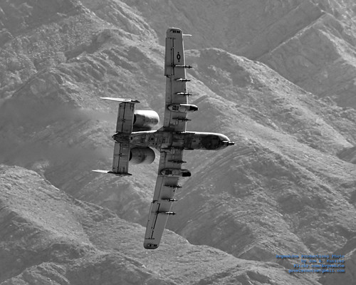 BANKING A-10C IN A DESERT VALLEY IN MONOCHROME