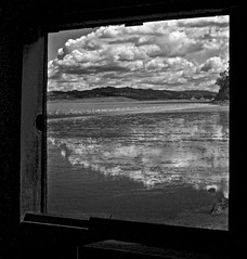Baylight Reflection (sswj) Tags: clouds bay reflection baylight sanpablobay lowtide blackandwhitebw monochrome composition window view leica dl4 dlux4 availablelight existinglight chinacampvillage sanrafael marincounty northerncalifornia scottstewartjohnson abstractreality landscape waterscape