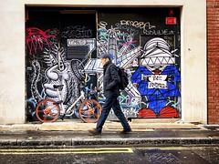 Be Inspired (garryknight) Tags: london iphone on1photoraw snapseed street soho man bicycyle cycle bike graffiti streetart