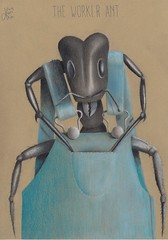 The Worker Ant. (Klaas van den Burg) Tags: pastel colored pencils humor absurd ant overall