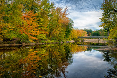 Saco River at First Bridge (FotoFloridian) Tags: autumn beautyinnature forest leaf newhampshire northconway october outdoors pond reflection river saco scenics season sony tranquilscene tree woodland yellow a6400 alpha landscape nature water