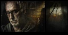 Reflections (andredekok) Tags: goldenhour textures selfportrait twilight reflections meditation monochrome portrait diptych