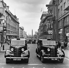 Two Austin FX3 taxis Lower Regent street London early 1960's. (Ledlon89) Tags: taxi austin fx3 cab blackcab londontaxi london vintagelondon 1960s regentstreet centrallondon londoncabby cabs