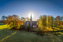 Christ Church - Urney - Strabane (Gareth Wray - 13 Million Views, Thank You) Tags: mark greenstreet christ church urney dji p4p phantom four 4 pro drone aerial uav autumn leaves sunrise golden brown pano stitched 2019 parish strabane road county tyrone northern ireland gareth wray photography landmark monument tourist tourism site nikon nikkor chapel cathedral spire tower angle irish photographer vacation holiday europe trees architecture good shepherd 1865 sun set sunset red building
