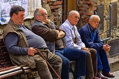 """Quattro amici al bar (""""Che sognavano di uccidere le rockstar"""") - Four friends at the bar (""""Who dreamed of killing rock stars"""") 😎 (Eugenio GV Costa) Tags: street people friend outside persone gente bar"""