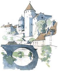 Semur-en-Auxois, le pont Pinard (gerard michel) Tags: france bourgogne semurenauxois pont panorama sketch croquis architecture aquarelle watercolour