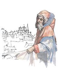 Semur-en-Auxois, Nicodème (gerard michel) Tags: france bourgogne semurenauxois miseautombeau nicodème sketch croquis aquarelle watercolour
